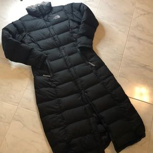North face ladies long black down puffer jacket.
